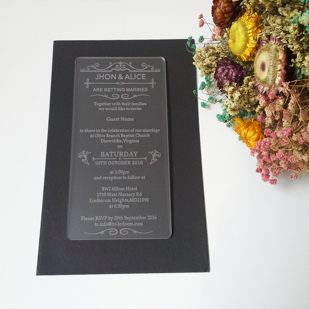 Customized 100180mm laser engraved letters frosted acrylic customized 100180mm laser engraved letters frosted acrylic wedding invitation card 1lot100pcs stopboris Images