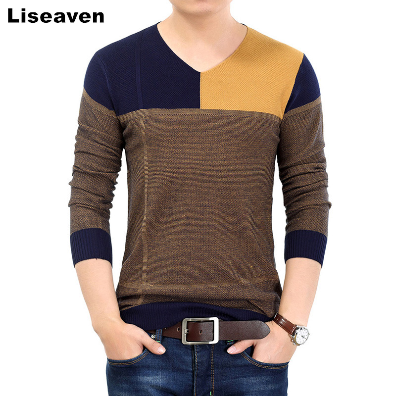 Liseaven Men Pullover Sweater Casual Slim Sweaters Patchwork V-Neck Men's Sweater Tops M-3XL
