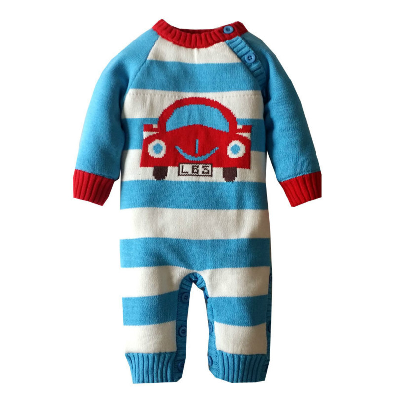 2017 New Winter Baby Boys Girls Clothes Long Sleeve One Piece Baby Romper Newborn Clothes Cartoon Car Sweaters cotton baby rompers set newborn clothes baby clothing boys girls cartoon jumpsuits long sleeve overalls coveralls autumn winter