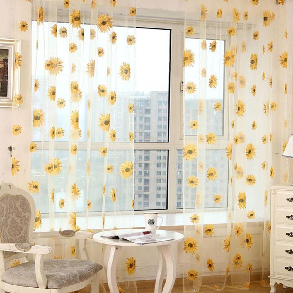 Dekorative Sonnenblumen Gedruckt Mesh Vorhang Voile Tür Fenster ...