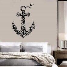Kotwica ikona vinyl naklejki ścienne morskie entuzjastów kryty łazienka łazienka home decoration wall art naklejka 1HH10