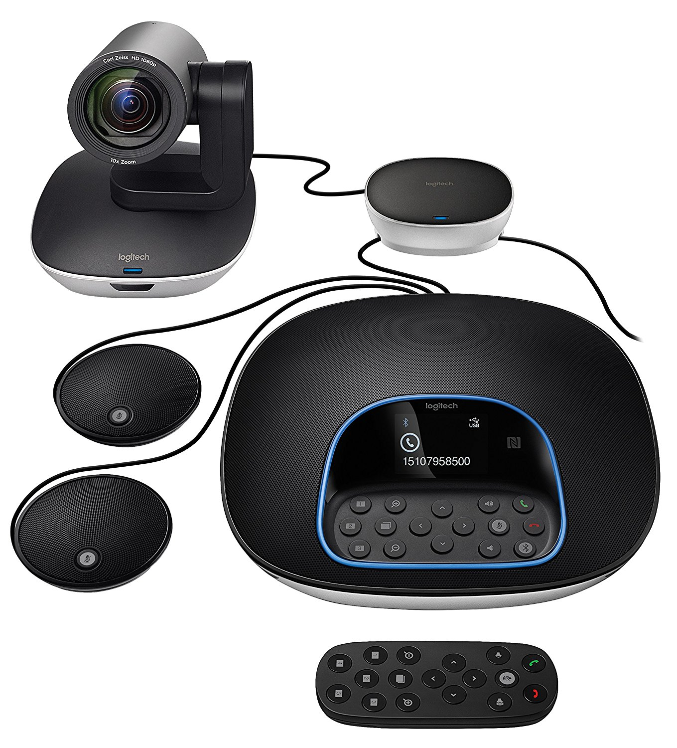 Logitech CC3500E Group Video Conferencing Bundle with Expansion Mics HD 1080p Camera Speakerphone
