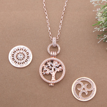 2017 New Style Tree of Life Pendant Necklace Set with 1 set Crystal Coin Pendant and 2pcs extra Coin as Birthday Gift