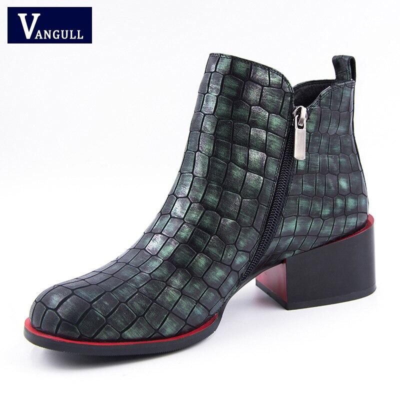 Botas Genuino Nueva Moda Tinto Primavera De Cuero vino Piedra Militar Toe Mujeres  Zapatos Gris Grano Zip Oscuro Cuadrado verde Tacón ... 6282343ecc57
