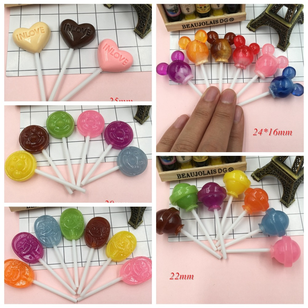 5pcs Resin New Arrival Hot Selling Lollipop For Crafts Making, Scrapbooking, DIY (mm)