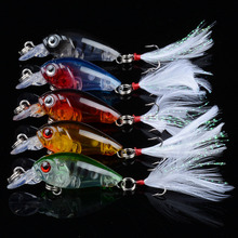 5Pcs/Lot 4.5cm/4g  Fishing Lures Hard Bait Minnow Fishing Lure Bass Crankbait Swimbait Trout Crank Baits With 10# Hooks Tackle