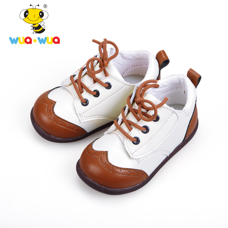 Wua Wua Childrens Leather Shoes For Girls and Boys Soft Leather Princess Shoes Kids 14.5-18cm Flats Loafer Oxford Leather Shoes