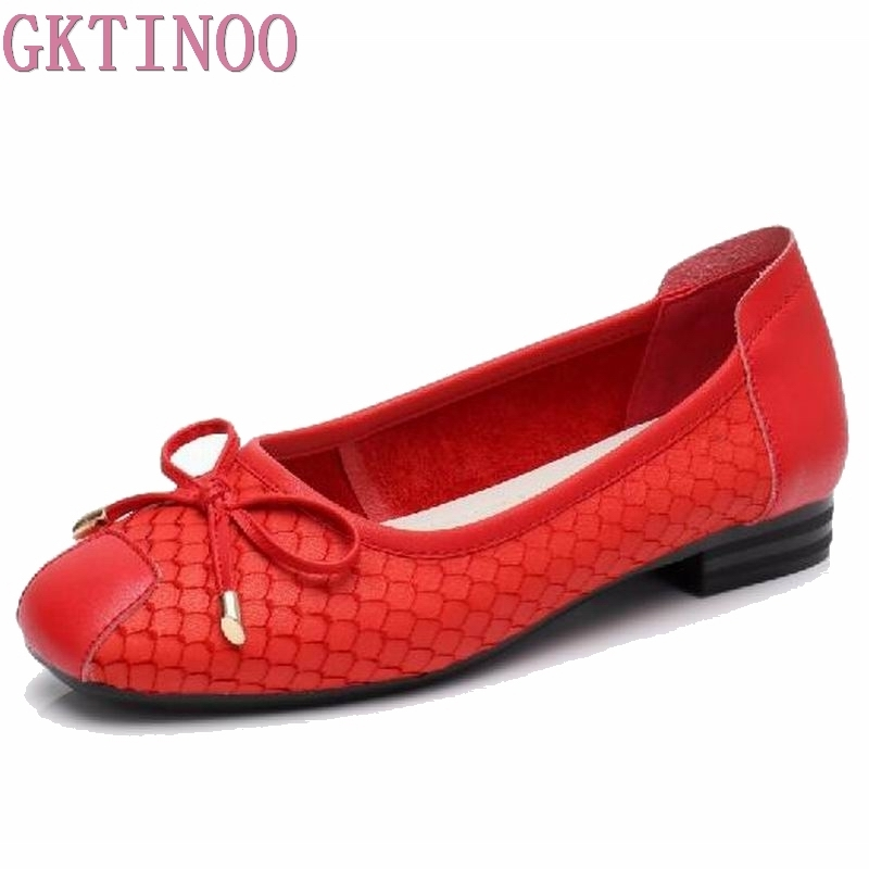 GKTINOO Plus Size 35 43 2019 Genuine Leather Flat Shoes Woman Loafers Bowtie Flexible Spring Casual