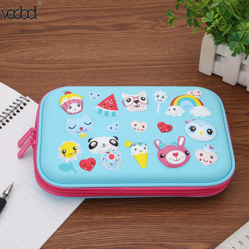 Kawaii Cartoon Animals Students Pen Bag Cute Pencil Case Girls Boys Large Capacity EVA PU Pencilcase Stationery School Supplies kawaii big zipper pencil case for school stationery supplies cute cartoon animal large capacity pencilcase storage organizer bag