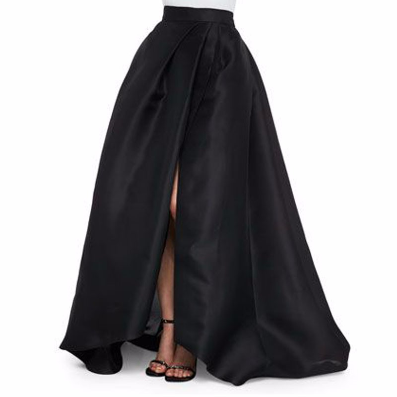 Sexy Black Satin Long Skirts New Design Side Split Chic Invisible Zipper Floor Length Skirts Fashion Women Maxi Saia axk100135 2as thrust needle roller bearing with two as100135 washers 100 135 6mm 1 pcs axk1120 889120 ntb100135 bearings