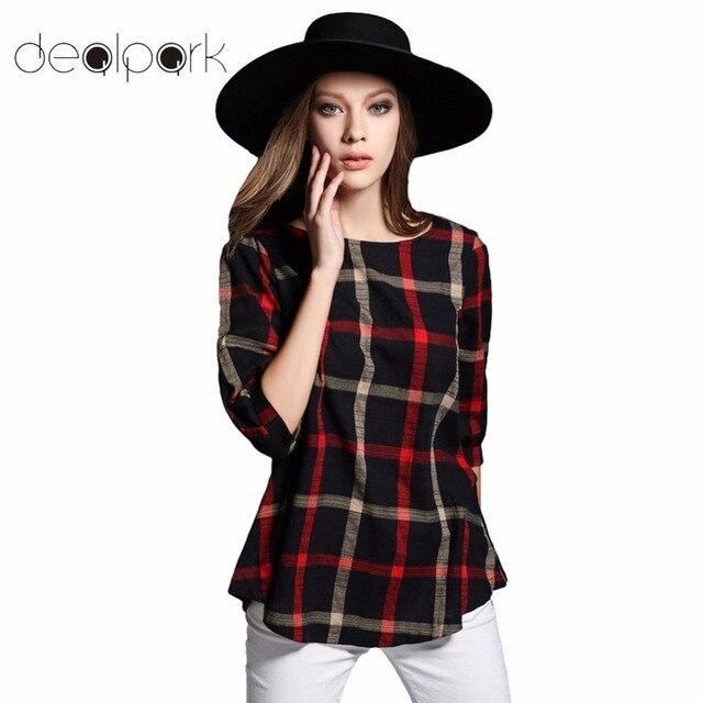 2792c582e096f 2019 3XL 4XL 5XL Plus Size Top Women Plaid Blouse Vintage O Neck 3 4 Sleeve  Line Casual Ladies Shirts XXXXL Blusas Femininas Red
