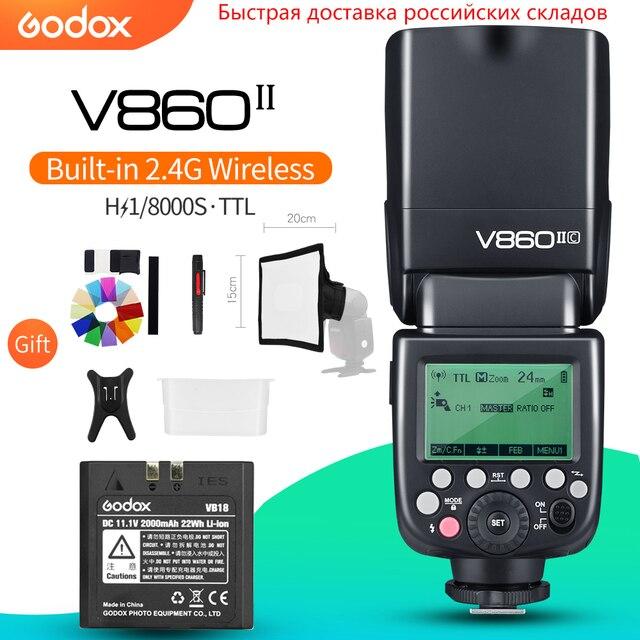 Godox V860II C V860II N V860II S V860II F V860II O TTL HSS Li Ion Pin Speedlite Flash cho Canon Nikon Sony Fuji Olympus