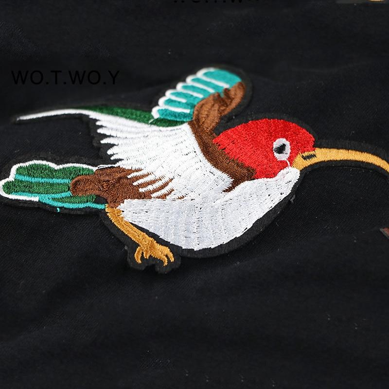 WOTWOY 2018 Birds Embroidery Cotton T-shirt Women Plus Size Summer T Shirt Women Black White Funny Tee Shirt Female Tops M-3XL