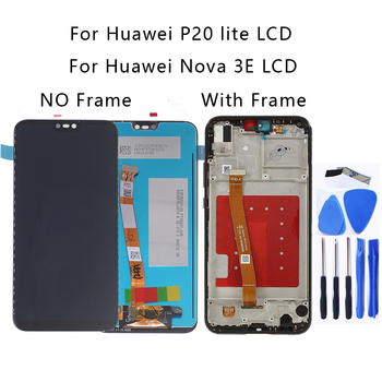 original Display For Huawei P20 Lite LCD Display touch screen digitizer replacement for Nova 3e With Frame Repair kit for huawei p20 lite usb plug charger board microphone module cable connector for huawei nova 3e digitizer phone parts repair kit