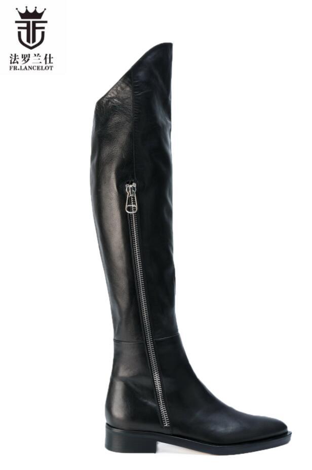 FR.LANCELOT 2020 New High Top Men Leather Boots Vintage Style Men Knee High Boots Sliver Zip Up Western Bota Cowboy Booties