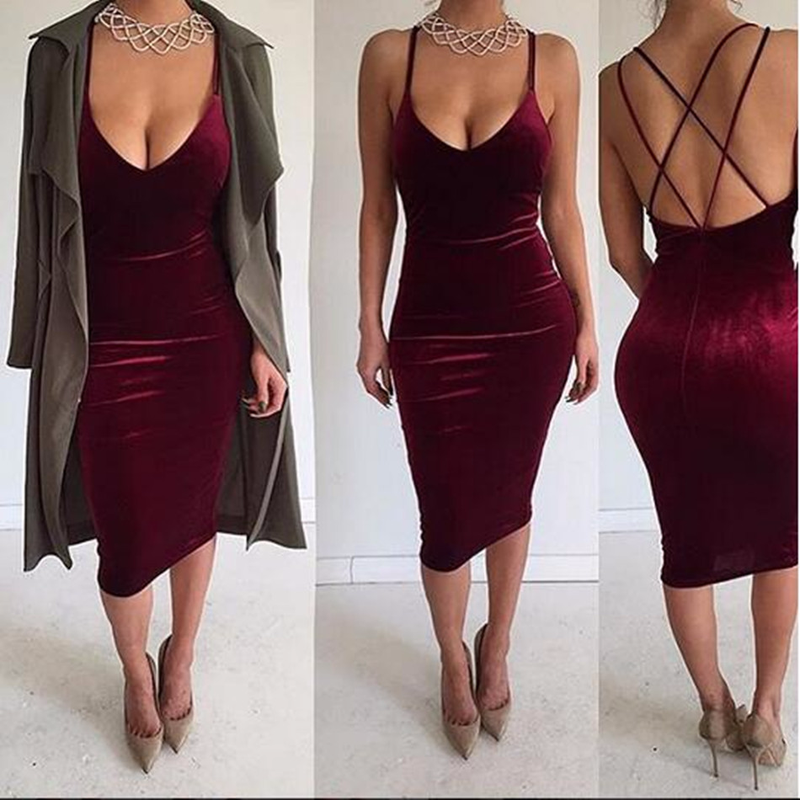 9374c81768b Women Summer Dress 2018 Sexy Party V Neck Sleeveless Bandages Backless  Velvet Dress Fashion Elegant Midi