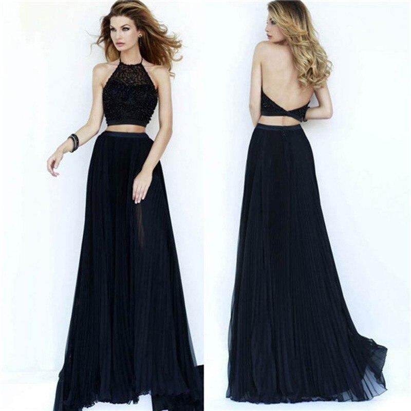 Elegant Black Long 2 Piece Dress
