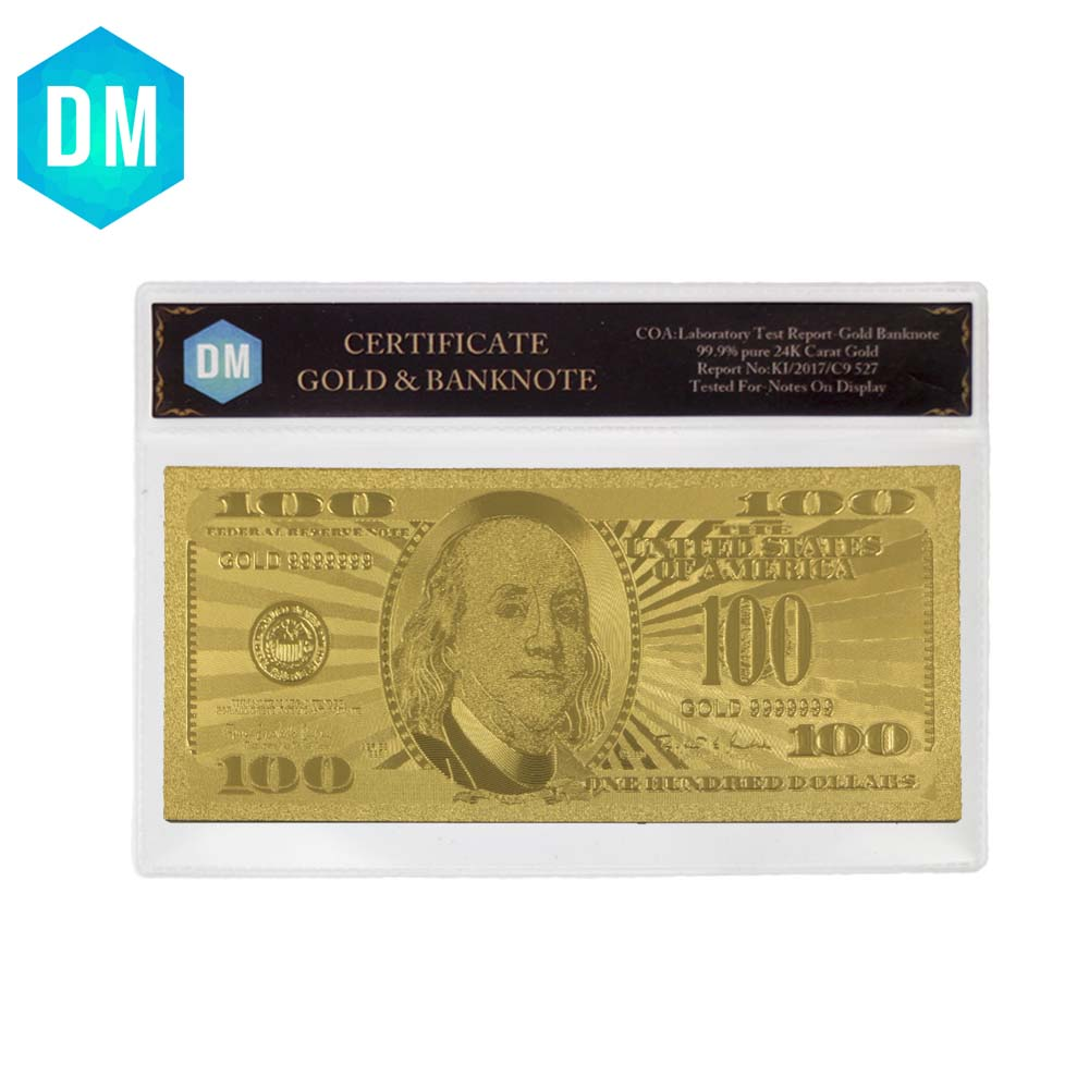 US 24k <font><b>Gold</b></font> Banknote Pure Golden American <font><b>100</b></font> <font><b>Dollar</b></font> Note Money Collectible Currency <font><b>Bill</b></font> Note with Plastic Frame image