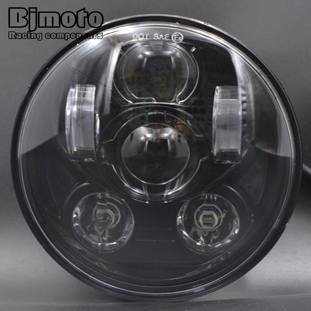 BJMOTO Motorcycle 5.75 Round Black LED Headlight 5 3/4 inch Two Modes High Low Beam Headlamp Daymaker DRL For Harley Motorbikes 5 75 inch daymaker led motorcycle headlight projector lens faro moto for harley led 5 3 4 headlight round headlamp motorcycle