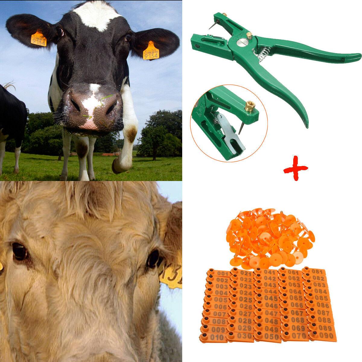 Tagger Tag pince 100 pièces ensemble étiquettes d'identification marquage applicateur perforateur alliage moniteur bovins mouton oreille Animal Durable