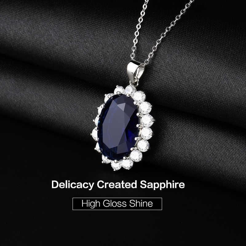 Gemstonaking 13,00 Ct Oval Azul zafiro 925 Plata de Ley mujeres colgante collar