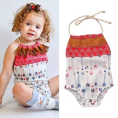 Helen115 Lovely Newborn Baby Boy Girls With Tassels Sleeveless Leak Back Belt Bodysuit 0-18M