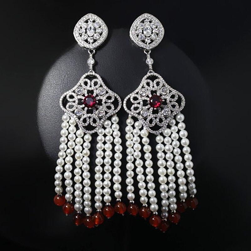 Nouveautés très long gland goutte boucle d'oreille Imitation perle boucles d'oreilles danse fête mode bijoux livraison directe gratuite
