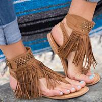 Summer Women Sandals Gladiator Tassel Flat Bohemian Beach Sandal Flip Flops Casual Shoes Sandals Women 2017