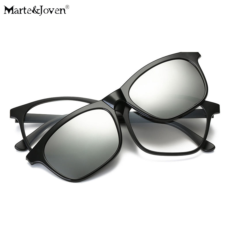 martejoven square mirrored polarized glasses clip on sunglasses for myopic anti glare plastic frame driving sun glasses clips