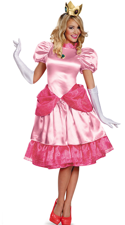 Halloween Fantasia Adulte Princesse Peach Rose Fantaisie Robe