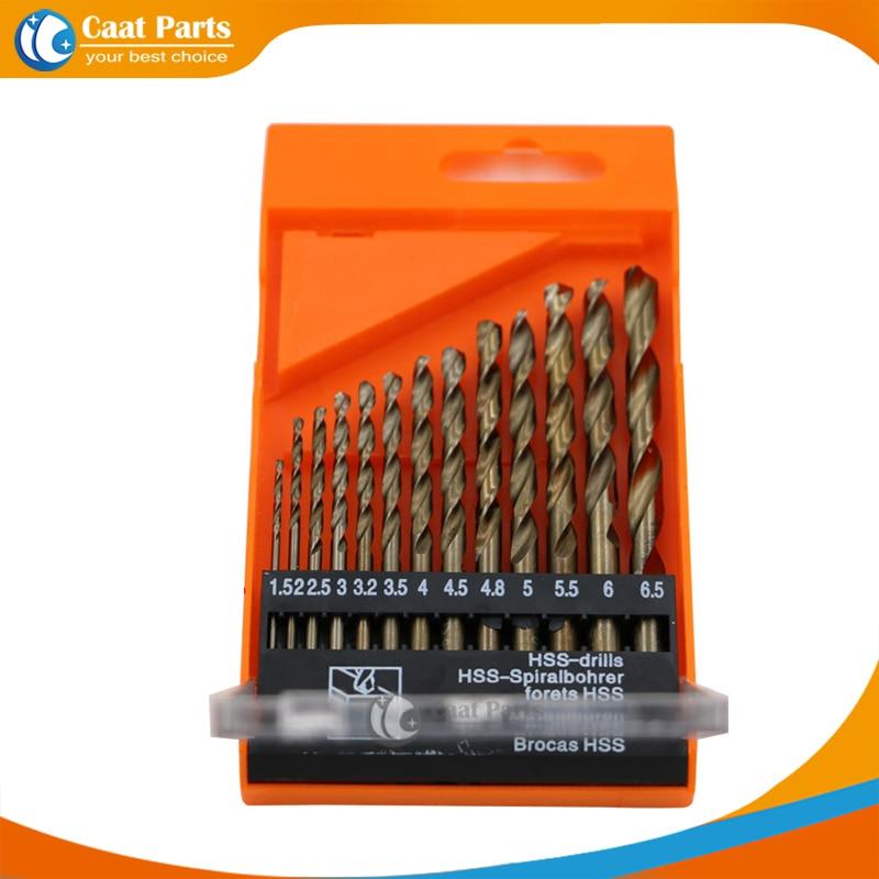 13 Pz / set M35 Punta elicoidale da 1,5 mm ~ 6,5 mm Set di utensili a mano per utensili elettrici HSS Frese per legno Plastica Acciaio inossidabile Metallo