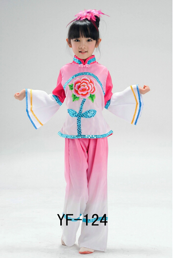 children chinese classical dance costumes green pink girl handkerchief yangko fan umbrella dance costumes Jiangnan rain tea