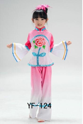 Children Chinese Classical Dance Costumes Green Pink Girl Handkerchief Yangko Fan Umbrella Dance Costumes Jiangnan Rain Tea