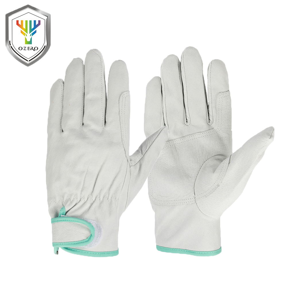 OZERO Work Gloves Safety Garden Golf Gloves Leather Welding Protective Waterproof For Glass Handling, Shop Floor Operations 3005