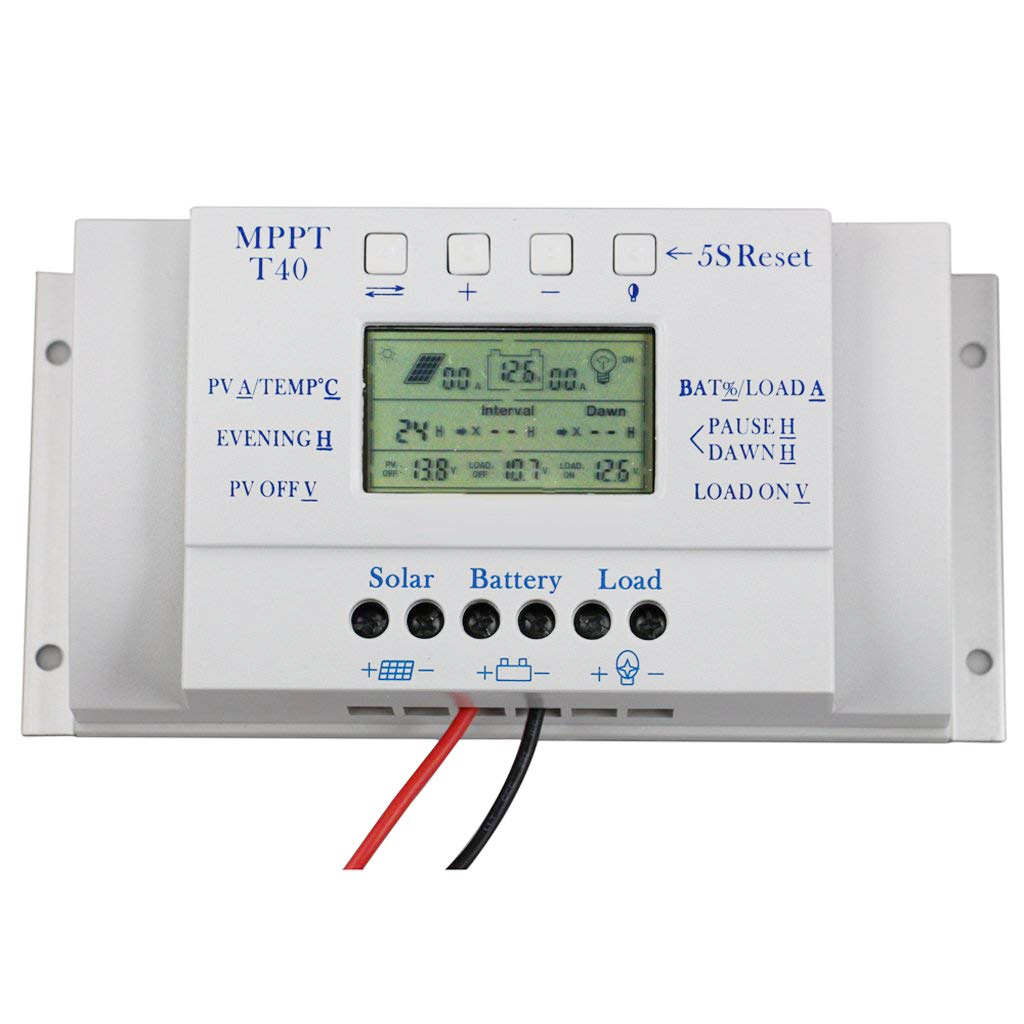 (Drop shipping) Solar Panel Regulator Charge Controller LCD 3 Timer 40A 12V / 24V lcd 40a 12v 24v autoswitch solar panel battery regulator charge controller st1 40a free shipping