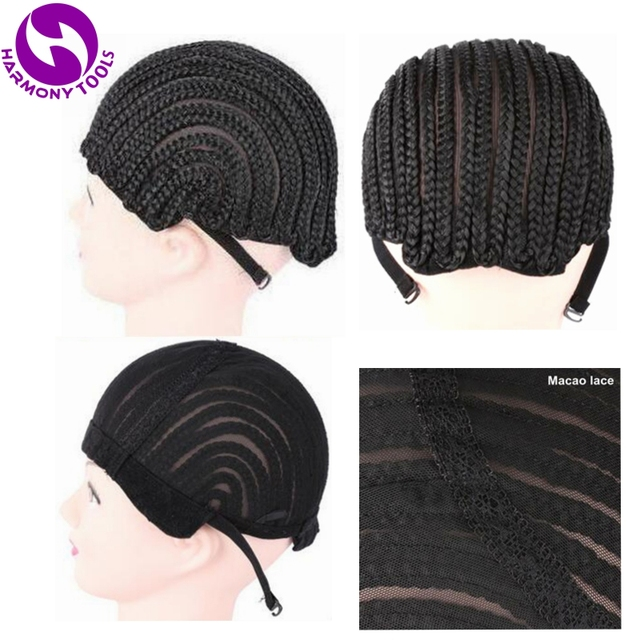 ( 2 Pieces/lot ) FREE Shipping Adjustable Strap Elastic Mesh Glueless Cornrow Crochet Synthetic Braided Weaving Wig Cap Black 1