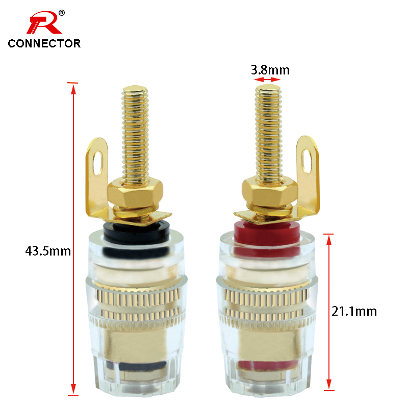 4pcs Binding Banana Socket 4mm Gold Plated Nut Clear Case Red+Black Color R Connector Binding Post
