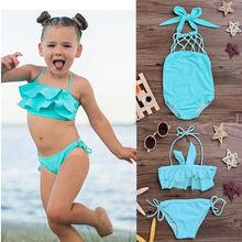 Детский однотонный Танкини с лямкой на шее и оборками для маленьких девочек, комплект бикини, купальный костюм, купальный костюм, пляжная одежда, От 2 до 7 лет