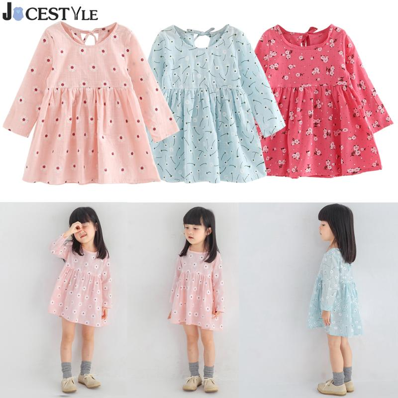 Baby Girl Clothes Kids Girls Long Sleeve Dress Flower Print A Line Dress Soft Cotton Princess Dress Children Clothing