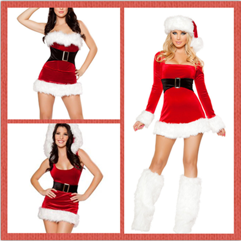 <font><b>2018</b></font> Christmas Dress Ladies Winter <font><b>Sexy</b></font> Dress Lone-Sleeve <font><b>Halloween</b></font> Xmas Party Red Dress <font><b>Women</b></font> Clothes with Hat vestidos verano image