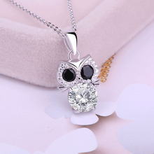 Real sterling silver 925 cute animal owl necklace in jewelry pendant necklace with CZ chain fashion silver jewelry for women hot sale sterling silver 925 palm devil s eyes necklace in jewelry pendant necklace dangle with cz chain necklace for women