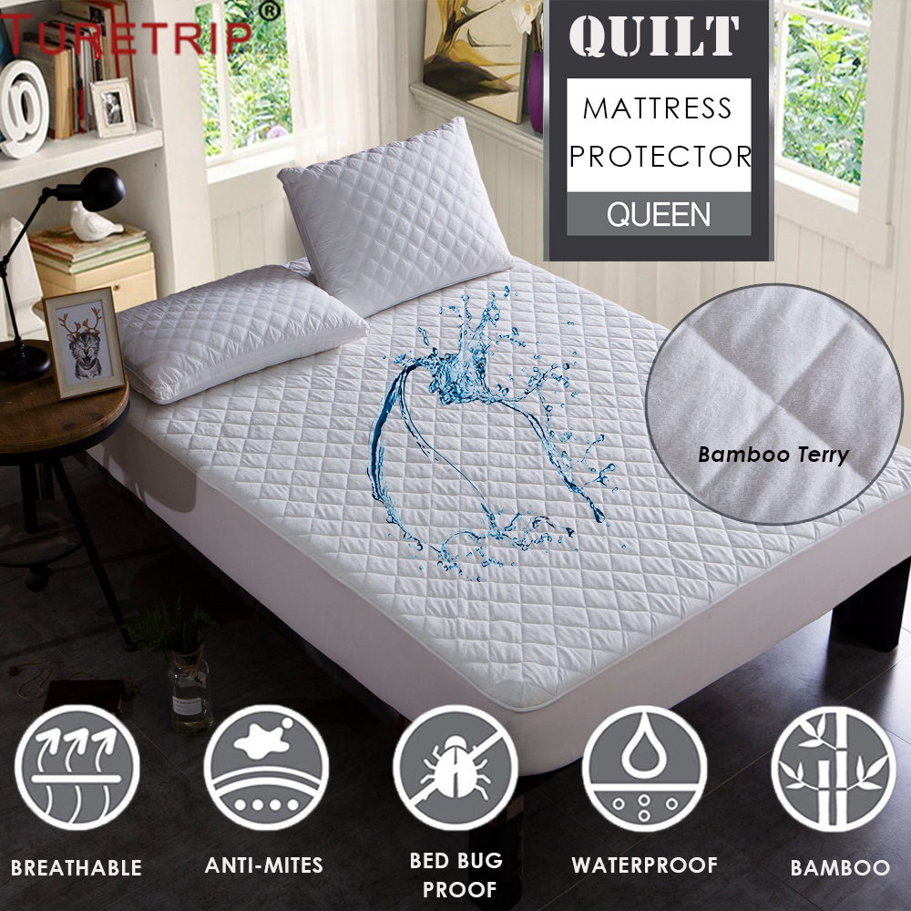 Bamboo Mattress Protector Cover Pad Queen Size Waterproof Soft Fabric Breathable