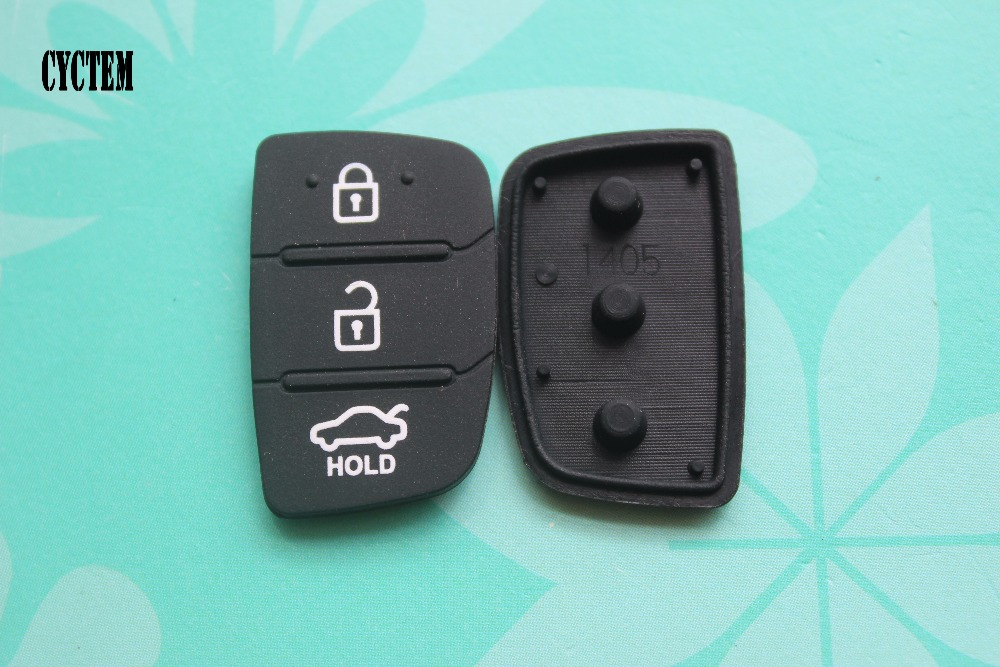 CYCTEM 10pcs/lot Auto Parts Replacement Rubber Case Car Key Pad Fit For Hyundai 3 Buttons Key Shell Blank Cover