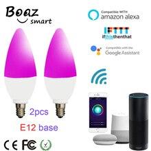 Boaz-EC E12 Wifi Smart Bulb 2pcs Voice Conreol Candle Light Colorful Lamp Alexa Echo Google Home IFTTT Tuya Smartlife
