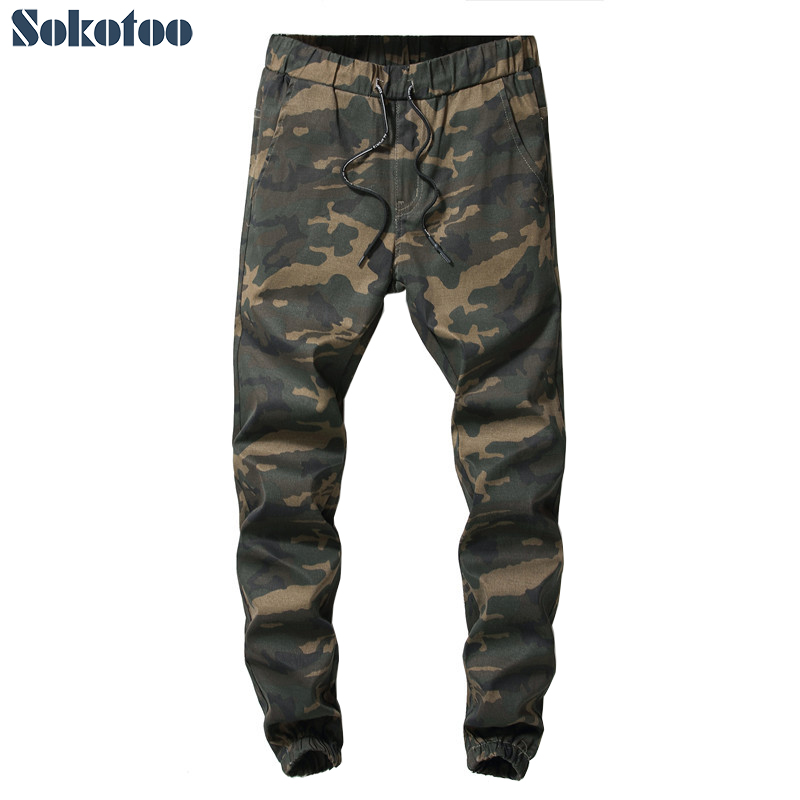 Sokotoo Men's camouflage printed joggers crop jeans Casual comfortable ankle length string elastic waist cargo pants