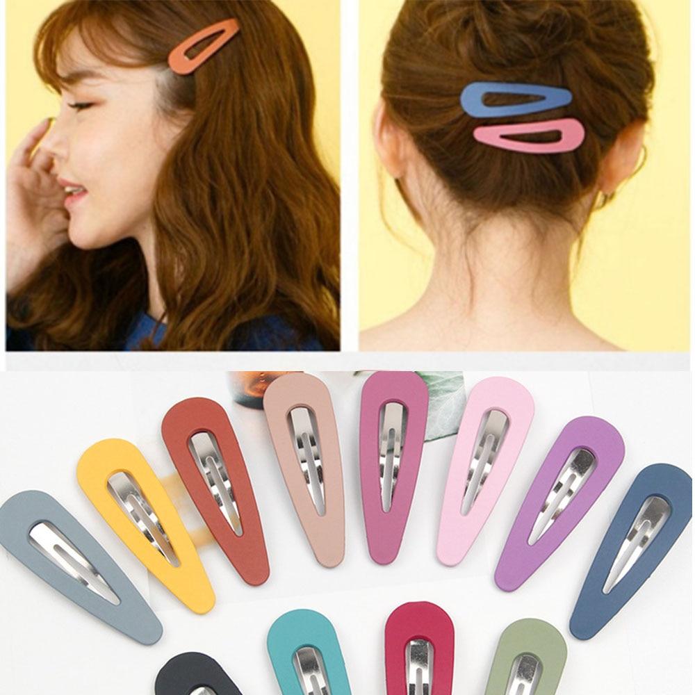 2pcs Korean Women Scrub Beautiful Candy Color Vintage Hairpin Hollow Water Drop BB Hair Clip Cute Glitter Hairpins 2019 Arrival