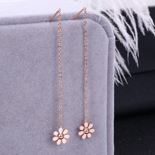 HFYK Flowers daisy rose gold long earrings stainless steel earrings for women pendientes mujer oorbellen hangers orecchini donna все цены