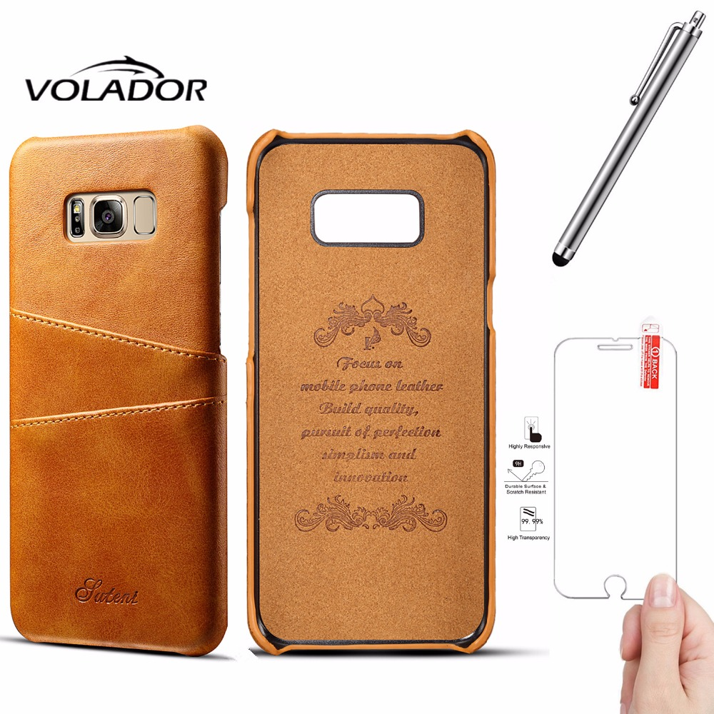 VOLADOR Business Style Luxury Leather Case for samsung Galaxy S8 Cover Fashion Wallet Card Holder S8 PLUS/Screen Protector+Pen