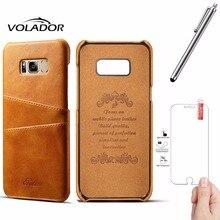 Volador Бизнес Стиль люкс кожаный чехол для Samsung Galaxy S8 крышка Мода бумажник визитница S8 Плюс/Screen Protector + ручка