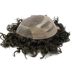 Cabello humano pieza de cabello para hombre Sistema de reemplazo de tupé Remy pelo Mono encaje y Poly Bond